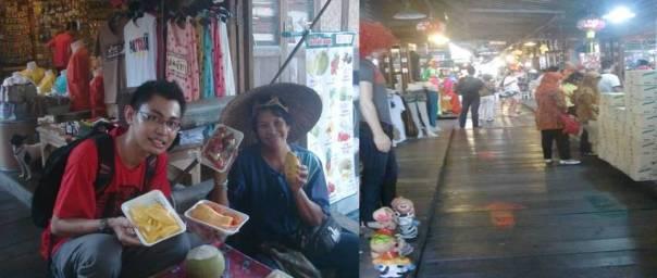 Bersama seorang pedagang buah di perahu dan susana di dalam altar Pattaya Floating Market