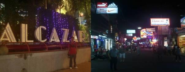 Di depan Alcazar Cabaret Show theatre building dan Suasana Pattaya Walking street