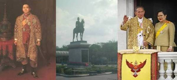 King Vajiravudh (Rama VI), Equestrian Monument King Chulalongkorn (Rama V) di Royal Plaza Dusit district, dan King Bhumibol Adulyadej (Rama IX) bersama Ratu Srikit
