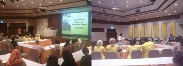 Presentasi masing-masing institusi, Tampak Prof. Pimrumpai Premsmit (mengenakan stelan putih)