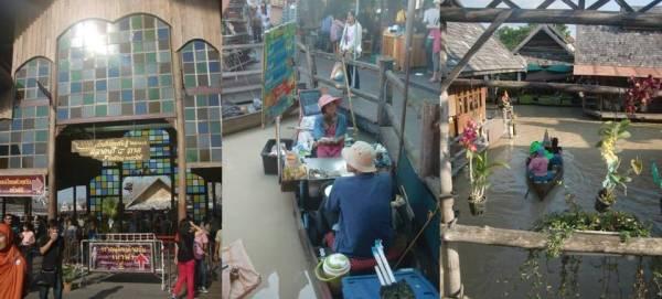 Pattaya Floating Market gate, pedagang sea food di atas perahu, dan berkeliling dengan perahu